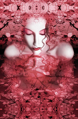 Fusion Digital Art - Red Autumn - Self Portrait by Jaeda DeWalt