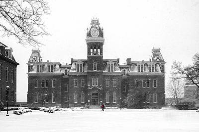 Woodburn Hall Photograph - Red Backpack In Snow Storm Woodburn Hall by Dan Friend