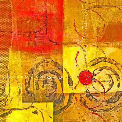 Mixed Media - Red Balance by Nancy Merkle