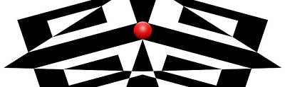 Pop Art Royalty-Free and Rights-Managed Images - Red Ball 12a H Panoramic by Mike McGlothlen