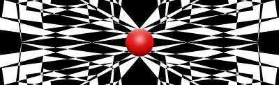 Ball Digital Art - Red Ball 16 Panoramic by Mike McGlothlen