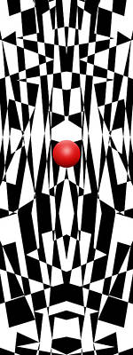 Op Art Drawing - Red Ball 21 V Panoramic by Mike McGlothlen