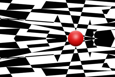 Op Art Digital Art - Red Ball 23 by Mike McGlothlen