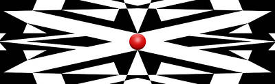 Pop Art Royalty-Free and Rights-Managed Images - Red Ball 25 Panoramic by Mike McGlothlen