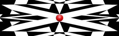 Mike Mcglothlen Modern Art Digital Art - Red Ball 25 Panoramic by Mike McGlothlen