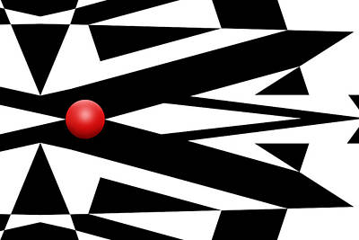 Mike Mcglothlen Modern Art Digital Art - Red Ball 27 by Mike McGlothlen