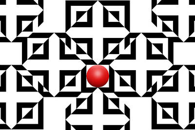 Optical Illusion Drawing - Red Ball 5a  by Mike McGlothlen