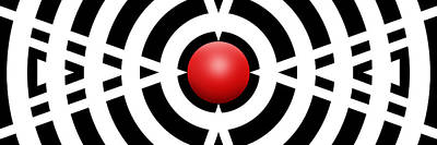 Abstract Royalty-Free and Rights-Managed Images - Red Ball 6a Panoramic by Mike McGlothlen