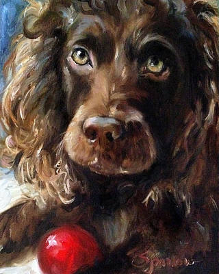 Brown Dog Painting - Red Ball by Mary Sparrow