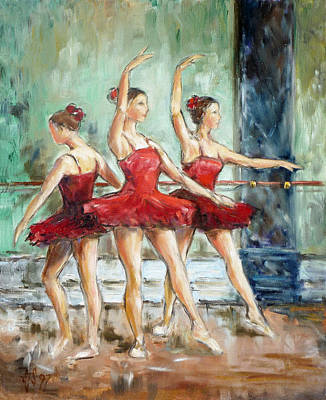 Painting - Red Ballerinas by Irek Szelag