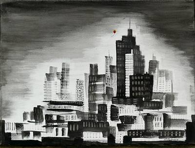 Painting - Red Balloon Escaping The City by Vic Delnore