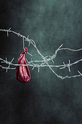 Barbwire Photograph - Red Balloon by Joana Kruse