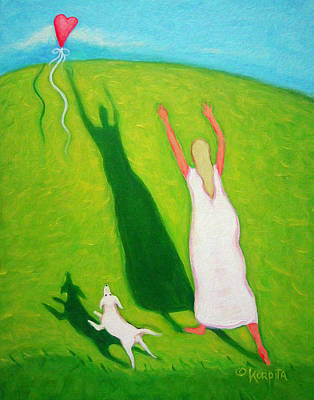 Painting - Red Balloon Woman Love White Dog - Letting Go by Rebecca Korpita