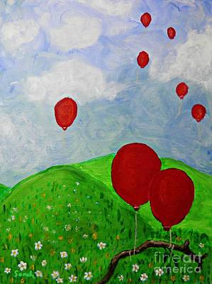Balloon Flower Painting - Red Balloons by Sarah Loft