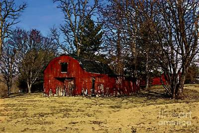Photograph - Red Barn Amongst Trees by Tom Griffithe