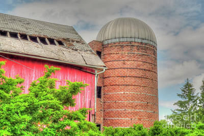 Photograph - Red Barn And Brick Silo by Deborah Smolinske