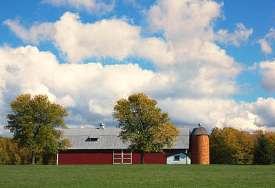 Red Barn And Clouds Art Print