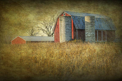 Photograph - Red Barn And Corn Field by Randall Nyhof