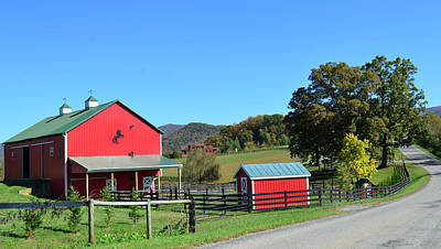 Photograph - Red Barn And Country Road by Cathy Shiflett