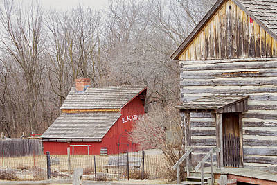Photograph - Red Barn And Log Home by Deb Buchanan