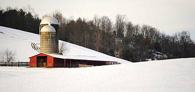 Barns In Snow Photograph - Red Barn And Silos In Snow - Winter Print Series by Matt Plyler