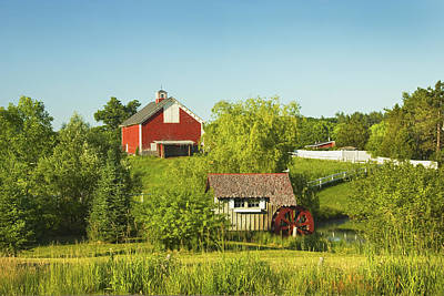 Maine Meadow Photograph - Red Barn And Water Mill On Farm In Maine by Keith Webber Jr