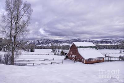Red Barn At Lamb Ranch Art Print