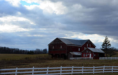 Photograph - Red Barn Blue Sky 2 by Cathy Shiflett