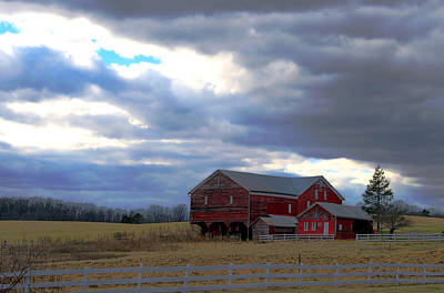 Photograph - Red Barn Blue Sky by Cathy Shiflett