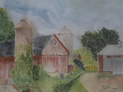 Pastel - Red Barn by Calliope Thomas