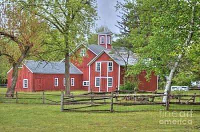 Red Barn Complex Original by Marcel  J Goetz  Sr
