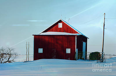 Photograph - Red Barn During Illinois Winter by Luther Fine Art