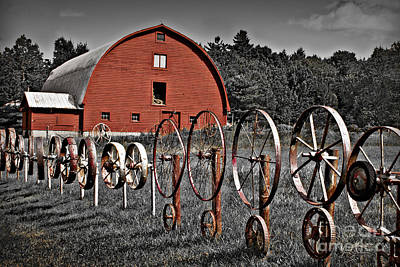 Selective Color Of Red Barn Fenced In By Wheels In Crown Point Ny Art Print