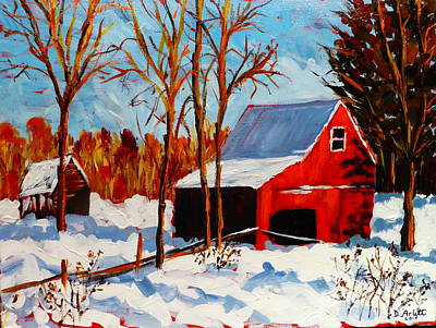 Painting - Red Barn First Snow by Diane Arlitt