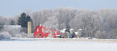 Whitehouse Wall Art - Photograph - Red Barn Frosty Morning Panorama1 by Jack Schultz