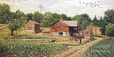 Farmhouse Painting - Family Farm In Pennsylvania by George Voyajolu