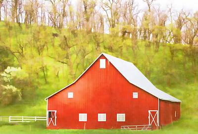 Red Barn Green Hillside Print by Carol Leigh