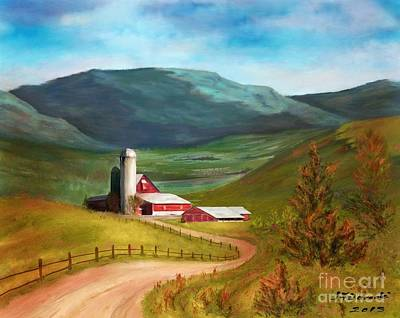 Painting - Red Barn Hillside Farm by Judy Filarecki