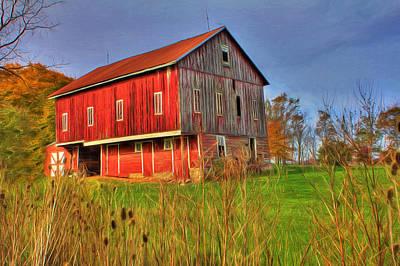 Red Barns Digital Art - Red Barn II by Sharon Batdorf