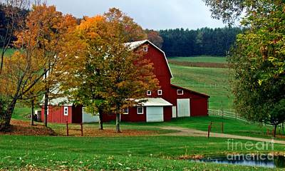 Red Barn In Autumn Art Print by Christian Mattison