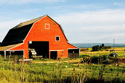 Wheeler Photograph - Red Barn In Field Near Joseph, Wallowa by Nik Wheeler