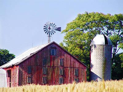 Barn Digital Art - Red Barn In Gettysburg by Bill Cannon