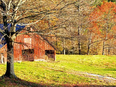 Photograph - Red Barn In Late Fall by Duane McCullough