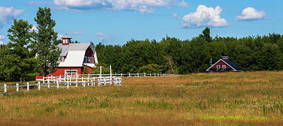 Quebec Photograph - Red Barn In Meadow, Knowlton, Quebec by Panoramic Images