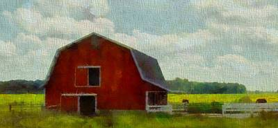Midwest Mixed Media - Red Barn In Ohio by Dan Sproul