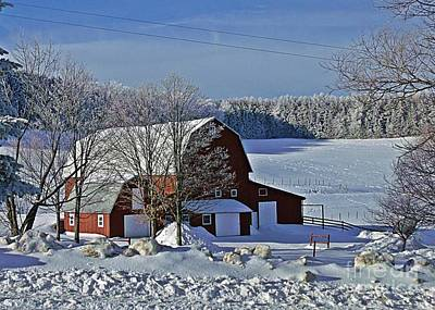 Photograph - Red Barn In Snow by Christian Mattison