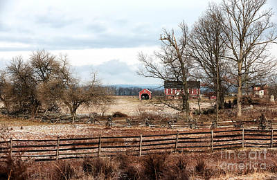 Red Barn In Winter Photograph - Red Barn In The Field by John Rizzuto