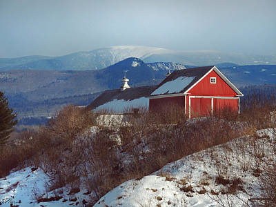 Photograph - Red Barn In Vermont Winter by Nancy Griswold