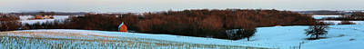 Red Barn In Winter Photograph - Red Barn In Winter After A Fresh by Panoramic Images