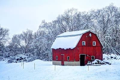 Photograph - Red Barn In Winter by Coby Cooper